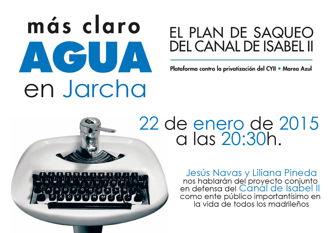 "Cartel presentación ""Mas claro agua"" en Jarcha"
