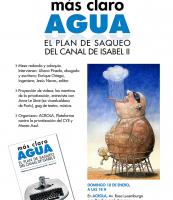 """Cartel presentación """"Mas claro agua"""" en Aravaca"""